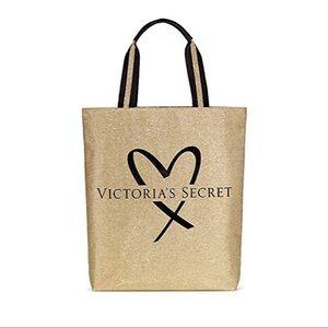 NWT Victoria's Secret Gold Glitter Tote Bag
